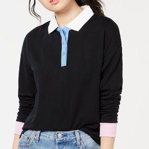 Black Hippie Rose Juniors Polo Sweatshirt